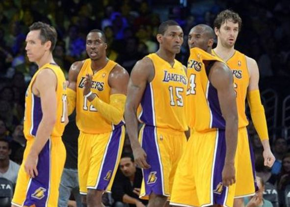 New Laker teammates Steve Nash Dwight Howard Metta World Peace Kobe Bryant and Pau Gasol